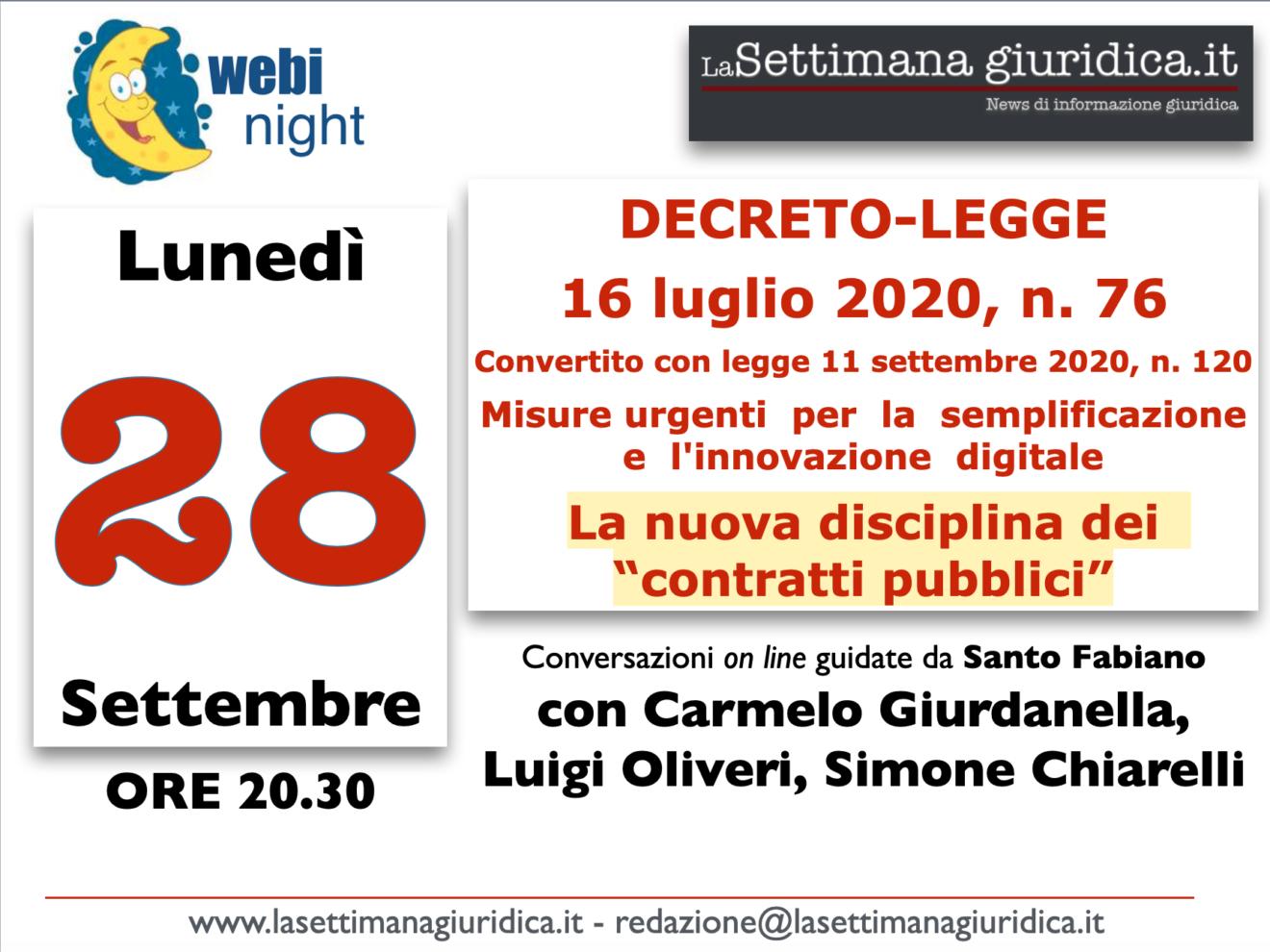 WEBINAR: la nuova disciplina degli appalti pubblici dopo la conversione del DL76/2020