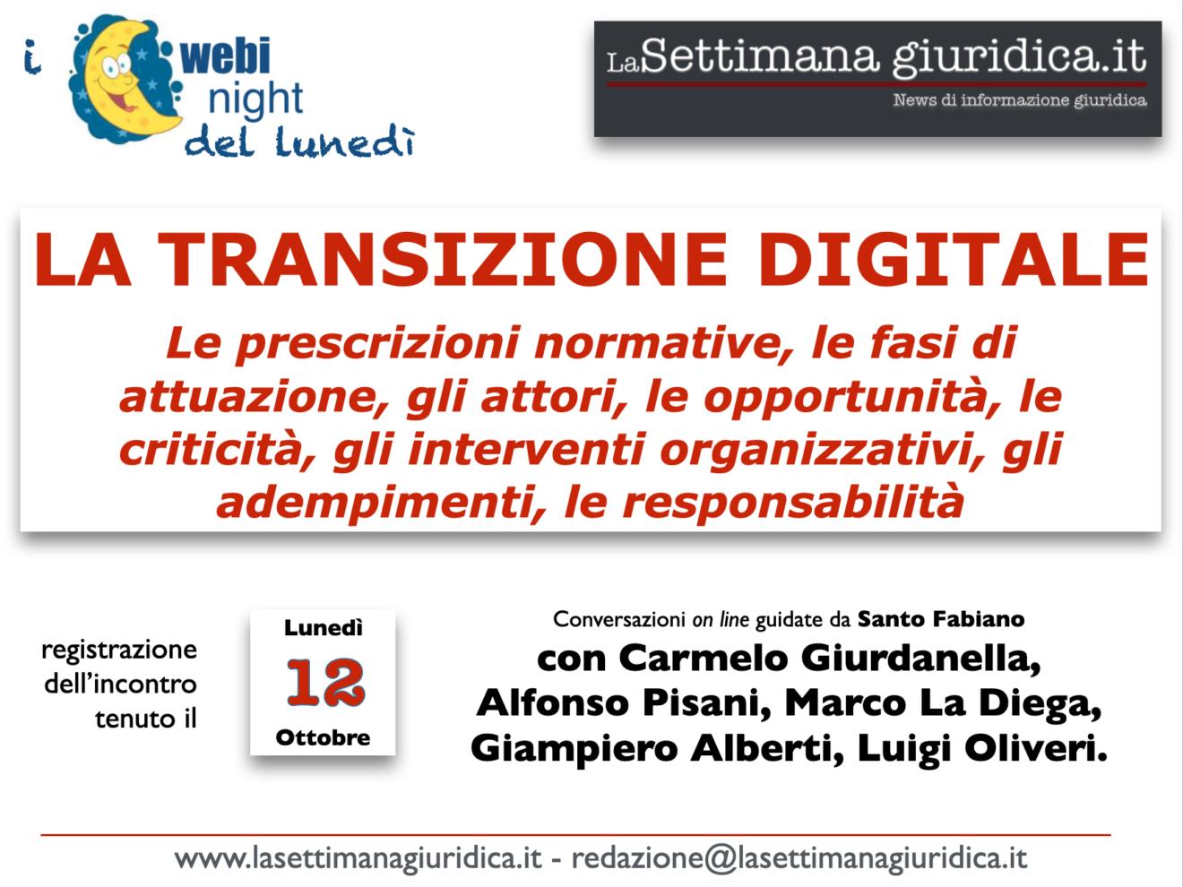WEBYNIGHT del lunedì 12 ottobre: La transizione digitale (video e slides)