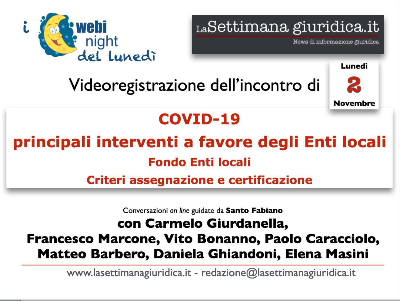 videoregistrazione del webynight del 2 novembre: gli stanziamenti Covid per gli enti locali