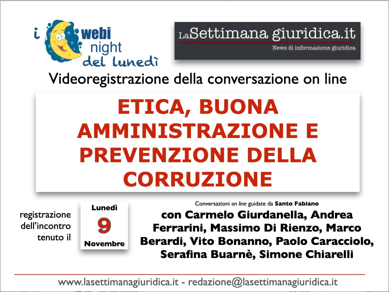 """Videoregistrazione del Webynight del 9 novembre: """"Etica, buona amministrazione e prevenzione della corruzione"""""""