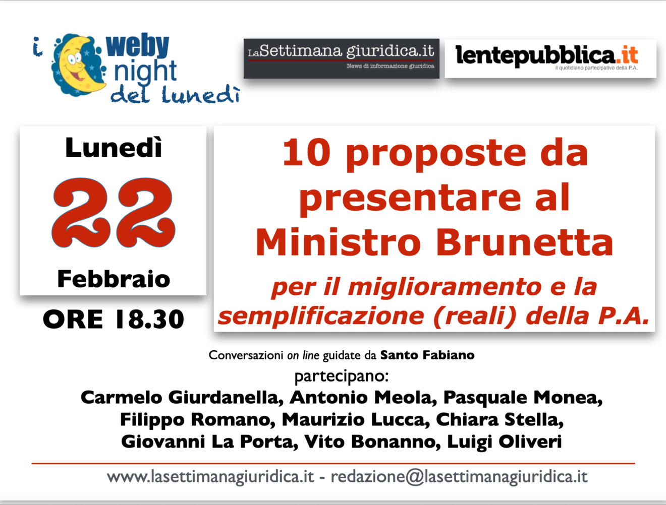 webinight: 10 proposte al Ministro Brunetta per la semplificazione e l'innovazione della P.A.